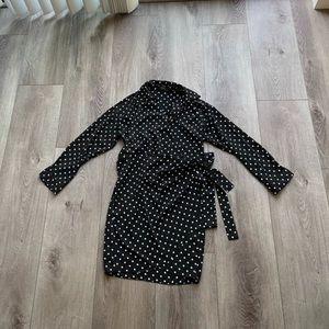STORETS BLACK & WHITE POLKA DOT WRAP MINI DRESS